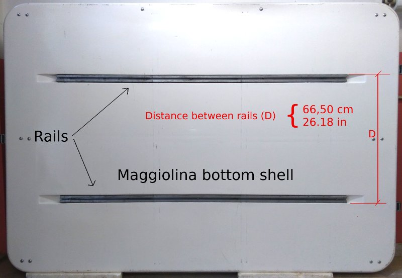 Maggiolina bottom shell: the distance between rails is 65.50 cm (26.18 in)